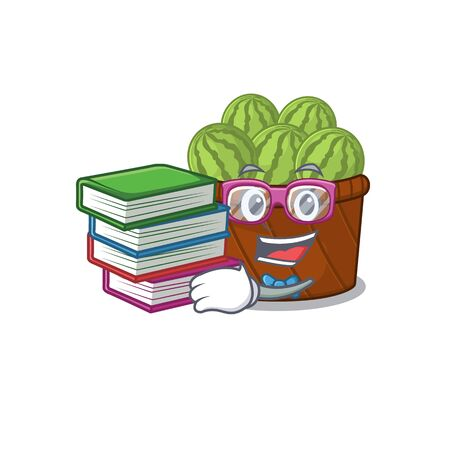 A diligent student in watermelon fruit basket mascot design with book. Vector illustration Illustration
