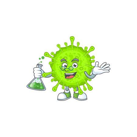 Orthocoronavirinae brainy Professor Cartoon design grasp a glass tube. Vector illlustration