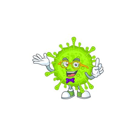 Super Funny orthocoronavirinae in nerd mascot design style. Vector illlustration