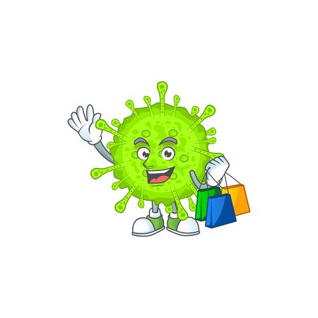 Smiley rich orthocoronavirinae mascot design with Shopping bag. Vector illlustration Иллюстрация