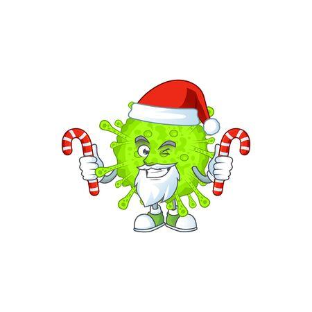 Friendly orthocoronavirinae in Santa Cartoon character with candies. Vector illlustration