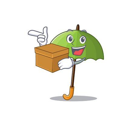 Green umbrella cartoon design style having a box