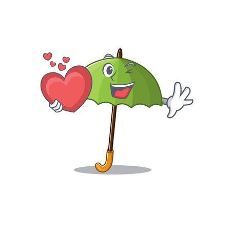 A romantic cartoon design of green umbrella holding heart