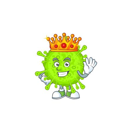 A Charismatic King of orthocoronavirinae cartoon character design. Vector illlustration