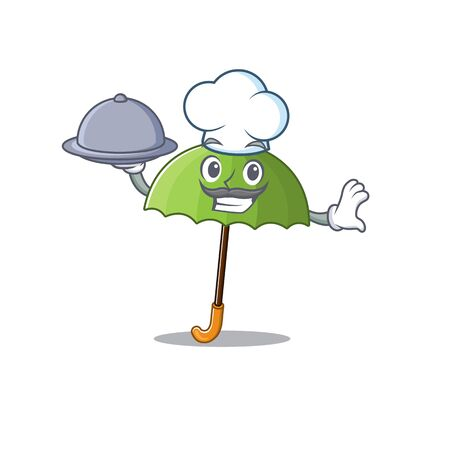 Green umbrella as a chef cartoon character with food on tray