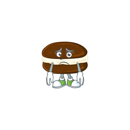 Whoopie pies mascot design style with worried face. Vector illustration