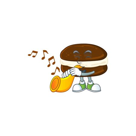 Whoopie pies cartoon character playing music with a trumpet. Vector illustration