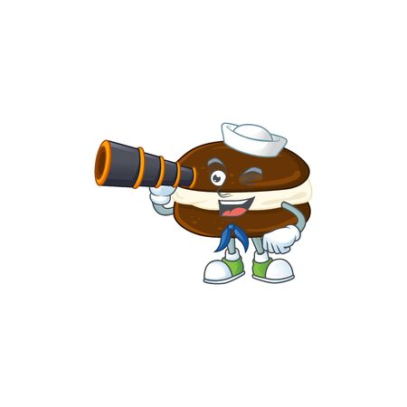 Whoopie pies in Sailor cartoon character design with binocular. Vector illustration