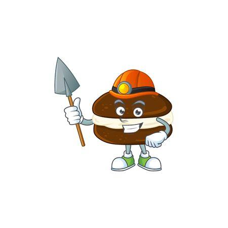Cool miner worker of whoopie pies cartoon design concept. Vector illustration
