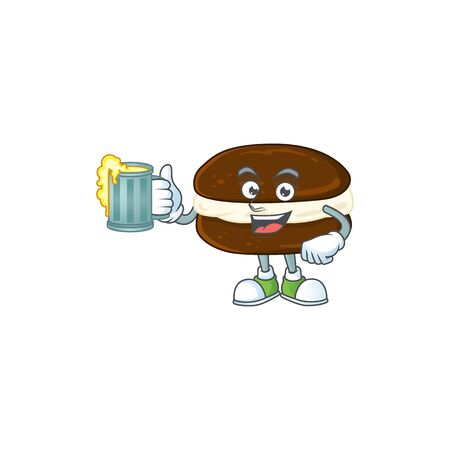 A cartoon concept of whoopie pies with a glass of beer. Vector illustration