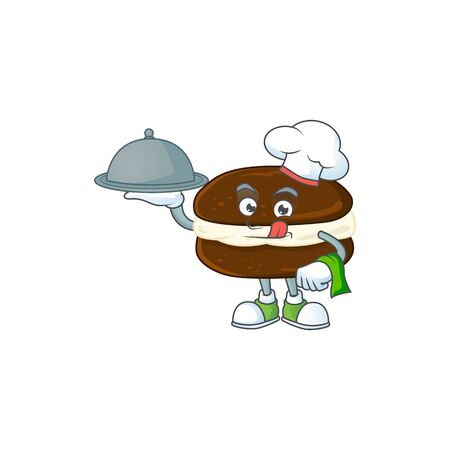 chef cartoon character of whoopie pies with food on tray. Vector illustration