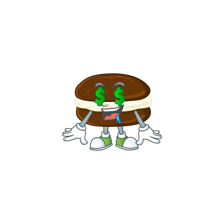 Rich whoopie pies with Money eye mascot character concept. Vector illustration