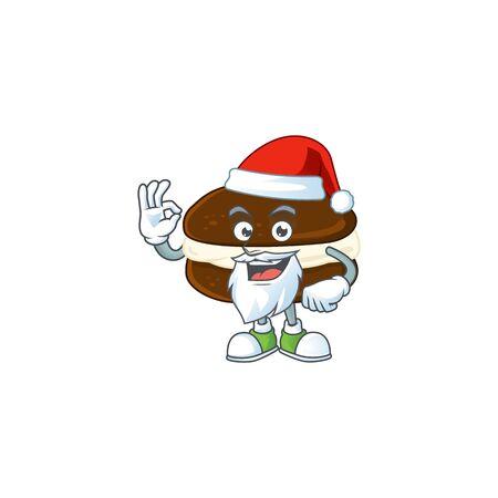 Whoopie pies cartoon character of Santa showing ok finger. Vector illustration
