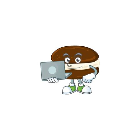 smart student of whoopie pies using a laptop. Vector illustration