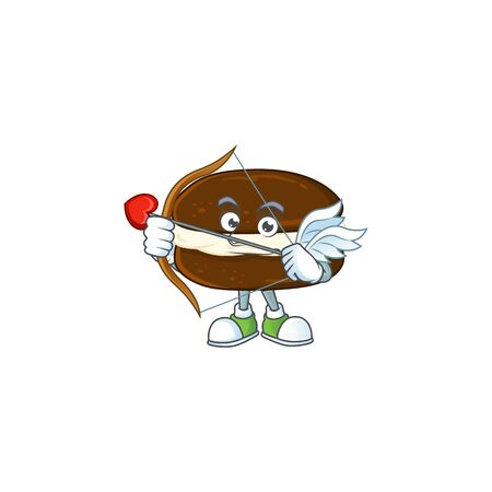 Sweet cartoon character of whoopie pies Cupid with arrow and wings. Vector illustration