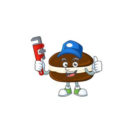 Smart Plumber worker of whoopie pies cartoon character design. Vector illustration