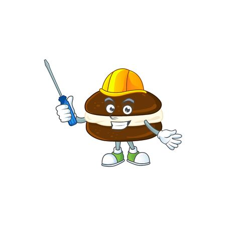 cool automotive cartoon character of whoopie pies. Vector illustration