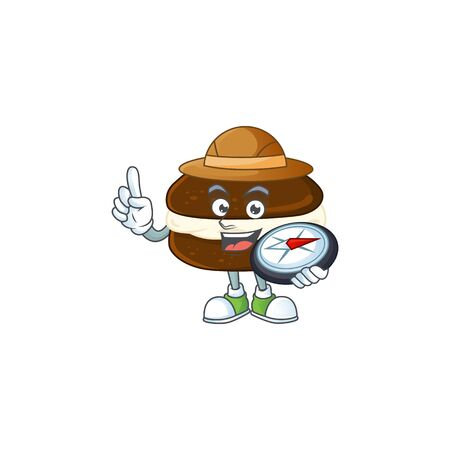 Whoopie pies an experienced explorer working using a compass. Vector illustration  イラスト・ベクター素材