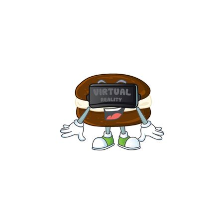 An icon of whoopie pies character using Virtual reality headset. Vector illustration