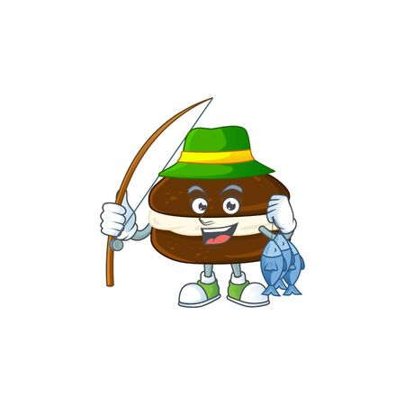 Cartoon character of funny Fishing whoopie pies. Vector illustration  イラスト・ベクター素材