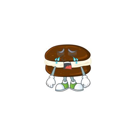 A Crying face of whoopie pies cartoon character design. Vector illustration