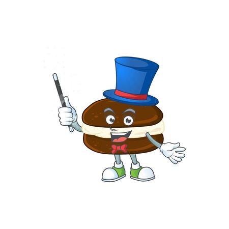 Charming whoopie pies cartoon design performance as a Magician style. Vector illustration