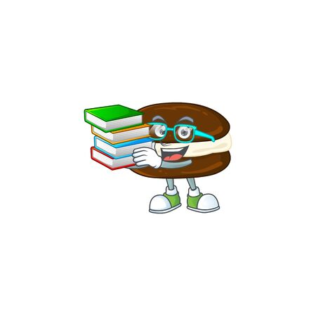 A hard-working student in whoopie pies cartoon design with book. Vector illustration  イラスト・ベクター素材