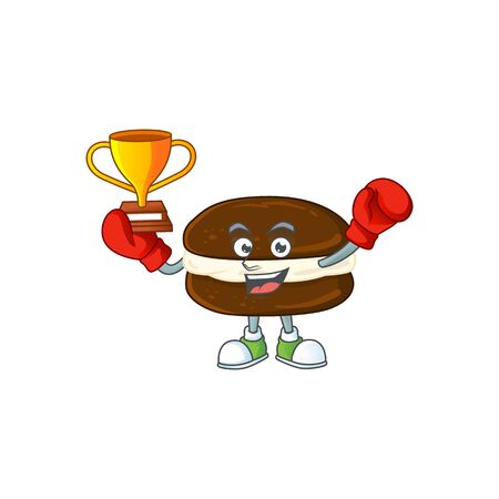 Happy face of boxing winner whoopie pies in mascot design style. Vector illustration