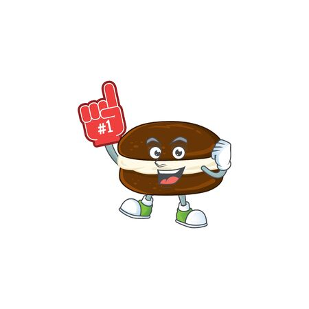 Whoopie pies presented in cartoon character design with Foam finger. Vector illustration