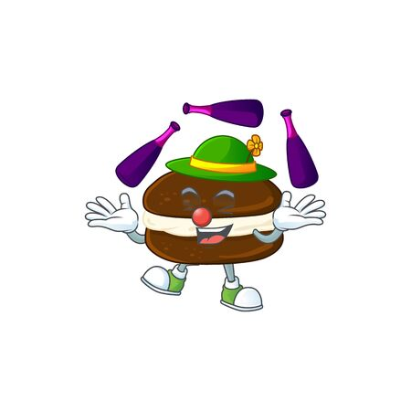 Whoopie pies cartoon character concept love playing Juggling. Vector illustration  イラスト・ベクター素材