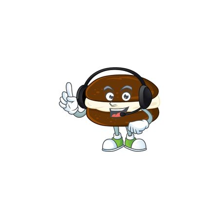 An attractive whoopie pies mascot character concept wearing headphone. Vector illustration