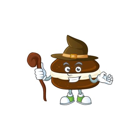 sweet and tricky Witch whoopie pies cartoon character. Vector illustration