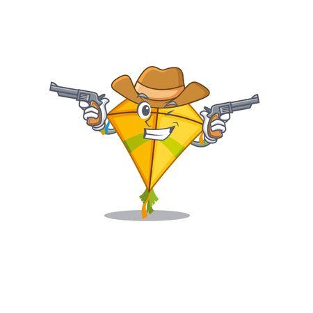 Funny kite as a cowboy cartoon character holding guns Illustration