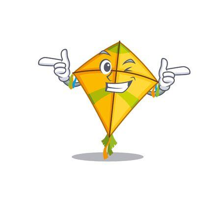 Smiley kite cartoon design style showing wink eye. Vector illustration