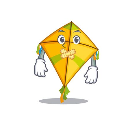 Kite mascot cartoon character design with silent gesture. Vector illustration