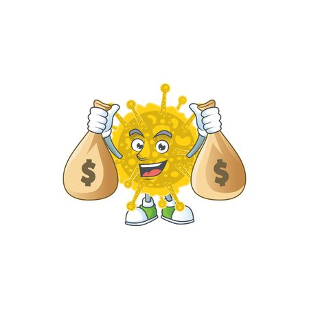 Happy rich coronavirus pandemic mascot design carries money bags