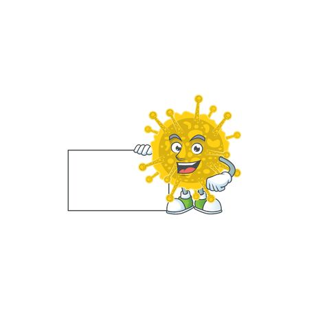 Funny coronavirus pandemic cartoon design Thumbs up with a white board