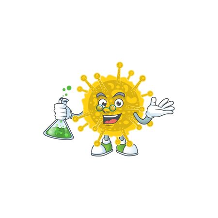 Coronavirus pandemic brainy Professor Cartoon design grasp a glass tube. Vector illustration