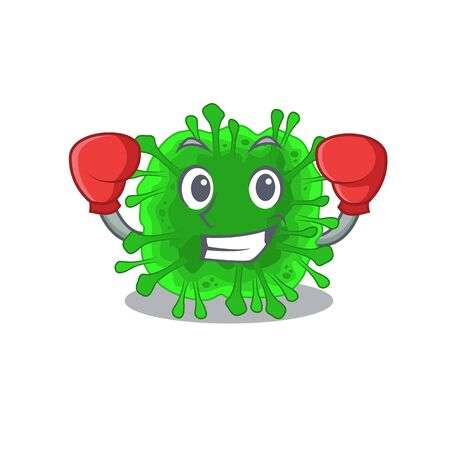 A sporty minunacovirus boxing mascot design style. Vector illustration