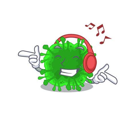 enjoying music minunacovirus in cartoon mascot design. Vector illustration Ilustracja