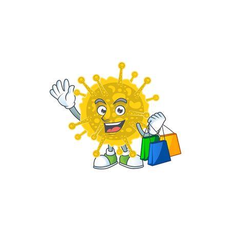 Smiley rich coronavirus pandemic mascot design with Shopping bag. Vector illustration