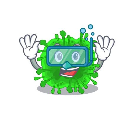 A cartoon picture featuring minunacovirus wearing Diving glasses. Vector illustration