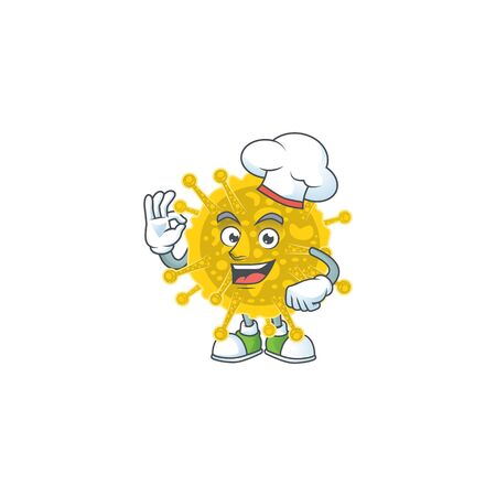 A picture of coronavirus pandemic cartoon character wearing white chef hat. Vector illustration 向量圖像
