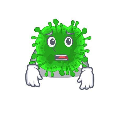 Cartoon picture of minunacovirus showing anxious face. Vector illustration