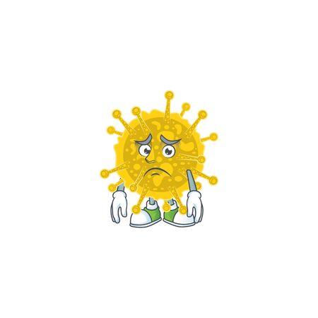Coronavirus pandemic mascot design style with worried face. Vector illustration