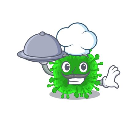Minunacovirus as a chef cartoon character with food on tray. Vector illustration
