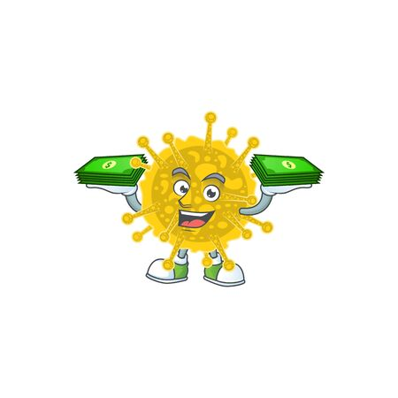 happy rich coronavirus pandemic character with money on hands. Vector illustration