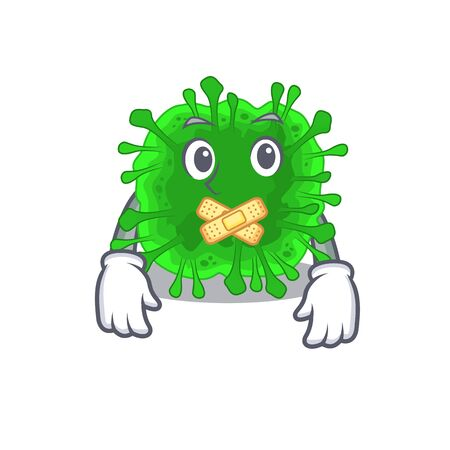 Minunacovirus mascot cartoon character design with silent gesture 일러스트