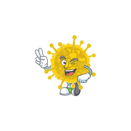A joyful coronavirus pandemic mascot design showing his two fingers Ilustracja