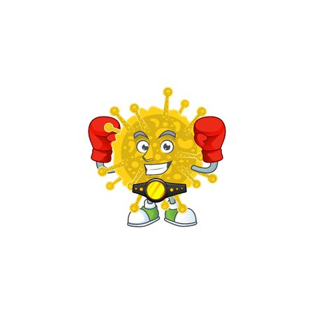 A sporty boxing of coronavirus pandemic mascot design style Illustration